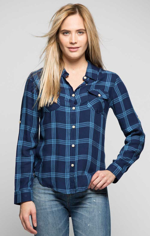 Plaid Two Pocket Button Down Shirt - Navy - jachs