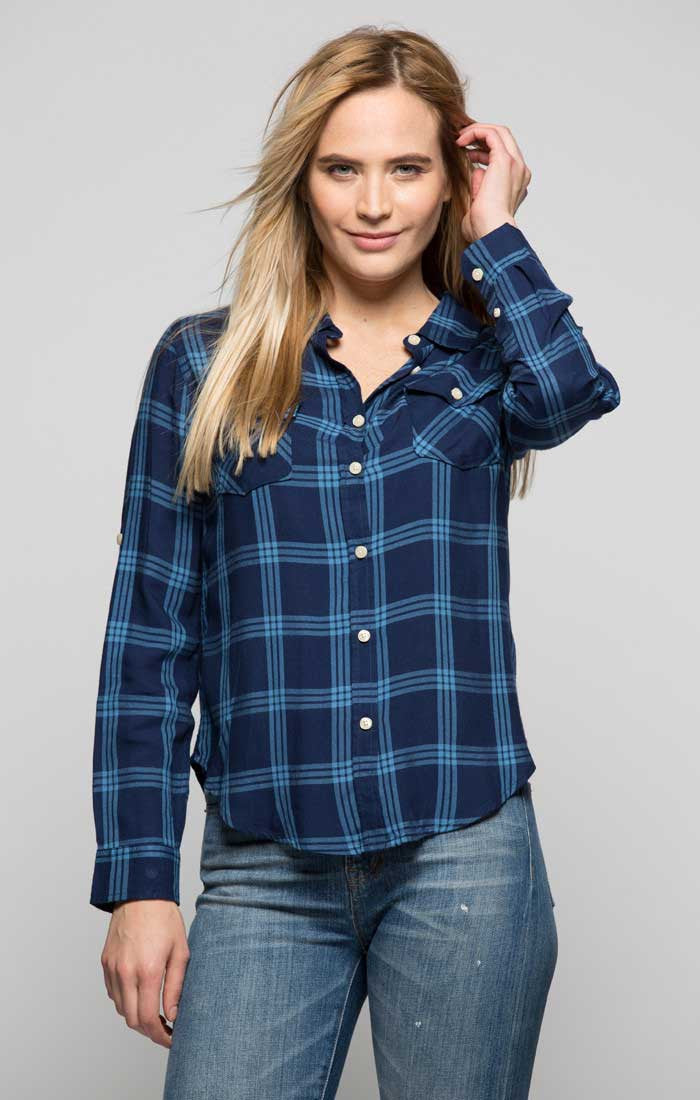 Plaid Two Pocket Button Down Shirt - Navy