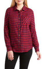 JACHS GF Red Micro Plaid Rayon Flannel Shirt