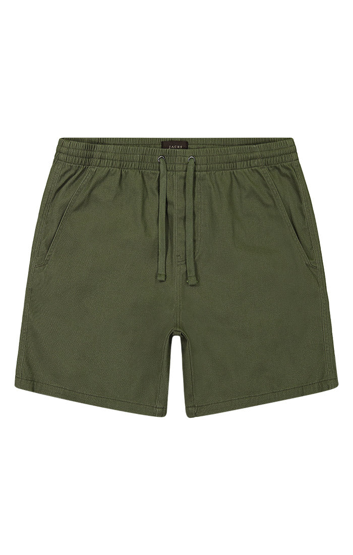 Green Stretch Twill Pull On Dock Short