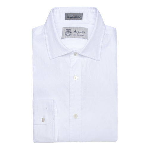 Albini Luxe Dobby Dress Shirt in White - jachs