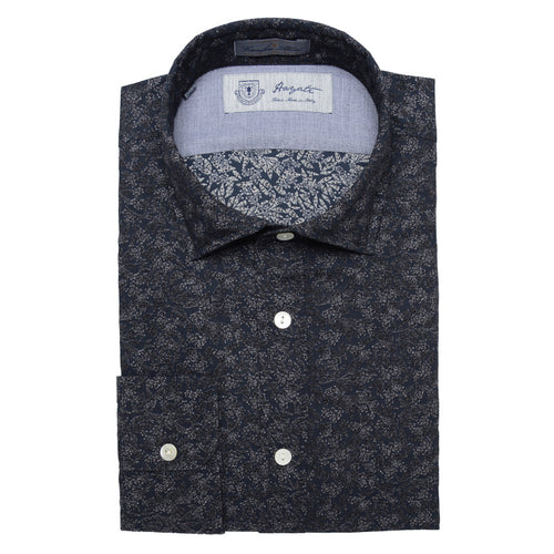 Albini Luxe Printed Sport Shirt in Black - jachs