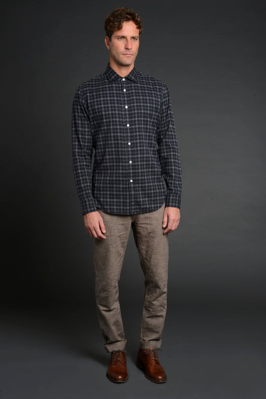 Albini Luxe Flannel Shirt in Grey