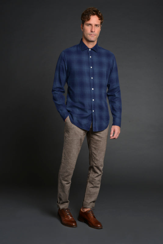 Albini Luxe Flannel Shirt in Blue