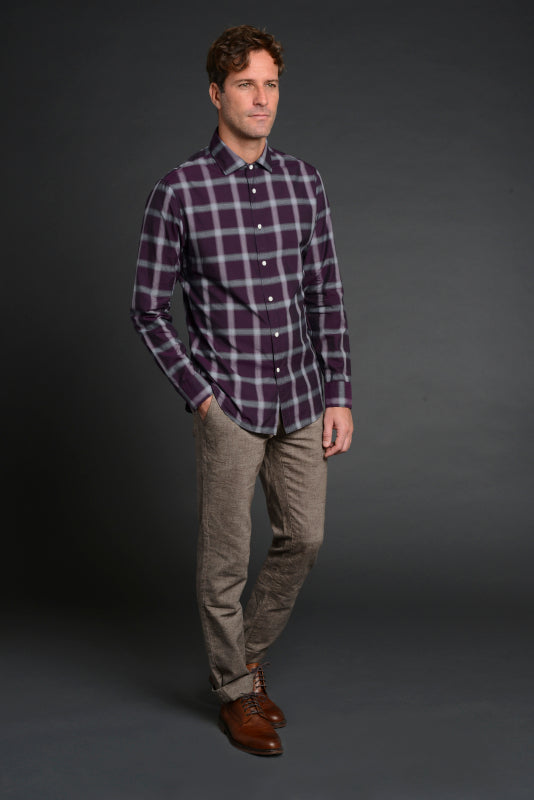 Albini Luxe Plaid Sport Shirt in Purple