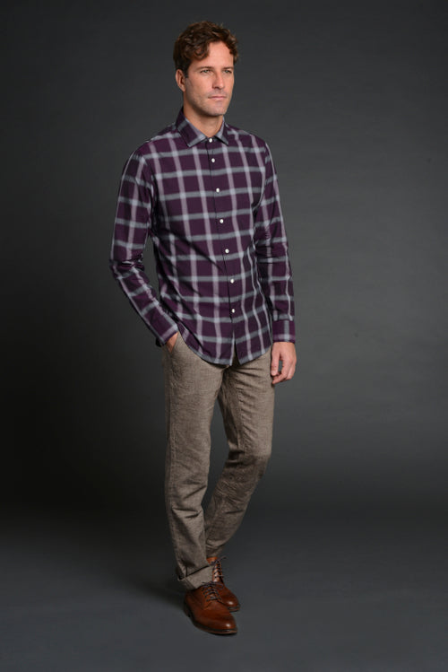 Albini Luxe Plaid Sport Shirt in Purple - jachs