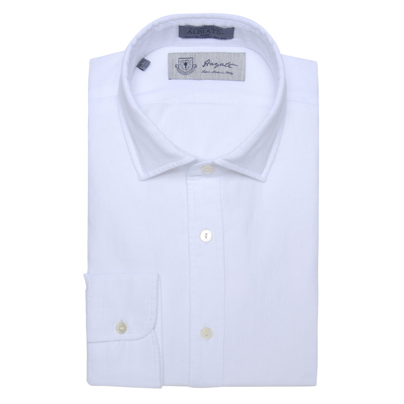 Albiate Luxe Textured Sport Shirt in White - jachs