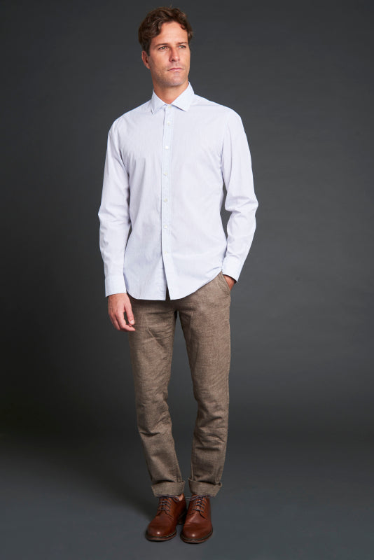 Albiate Luxe Dobby Sport Shirt in Light Grey - jachs