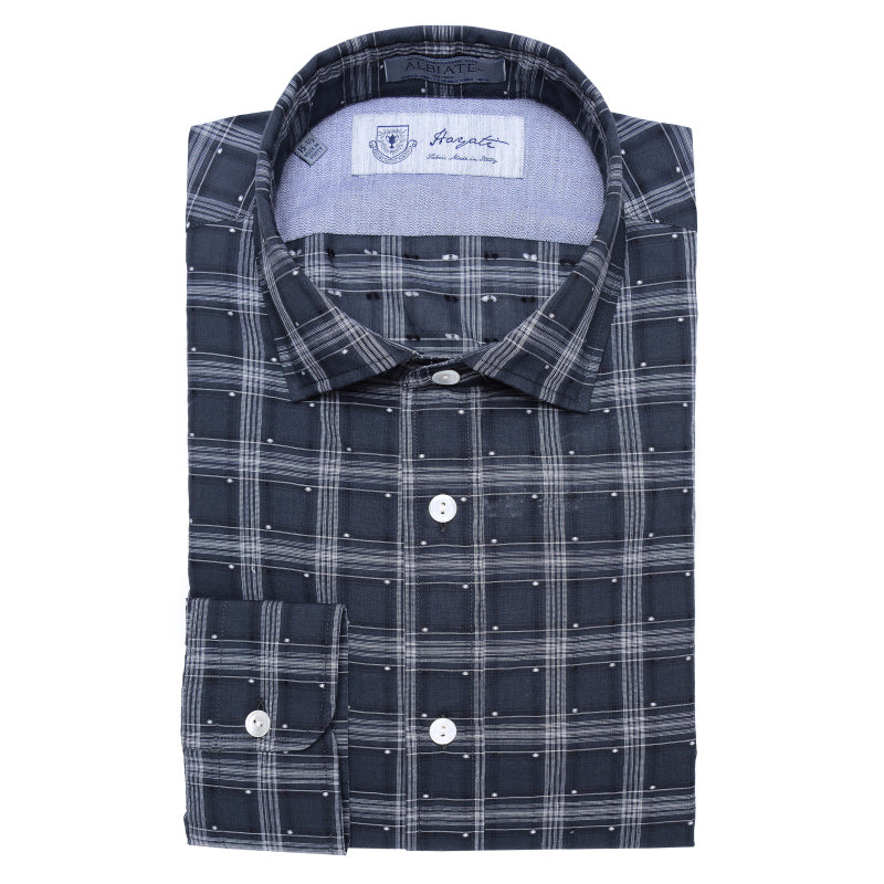 Albiate Luxe Dobby Sport Shirt in Grey