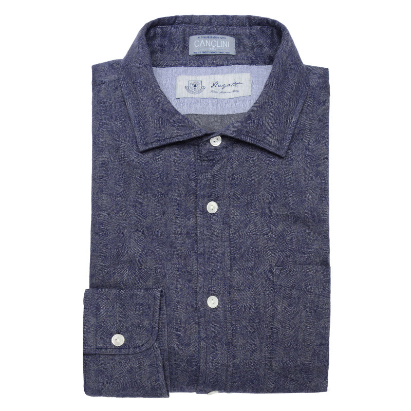 Canclini Luxe Jaquard Flannel in Navy