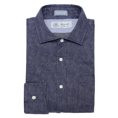 Canclini Luxe Jaquard Flannel in Navy - jachs