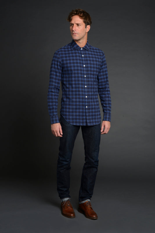 Albiate Luxe Plaid Flannel Shirt in Blue