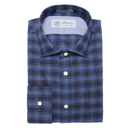 Albiate Luxe Plaid Flannel Shirt in Blue - jachs