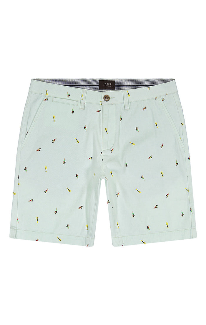 Mint Hula Print Stretch Chino Short - jachs