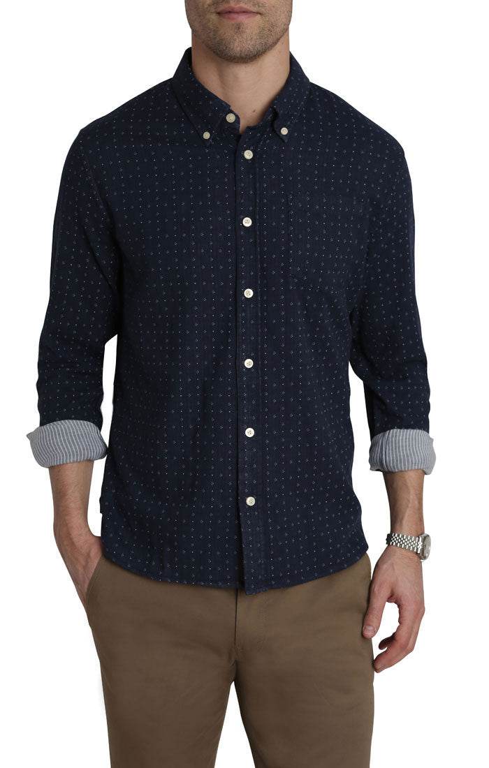 Indigo Micro Printed Stretch Double Face Shirt - jachs