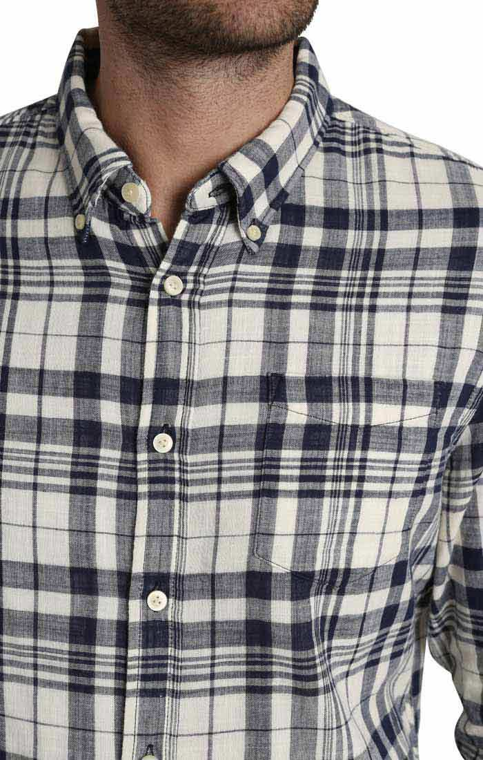 White Plaid Stretch  Double Face Shirt