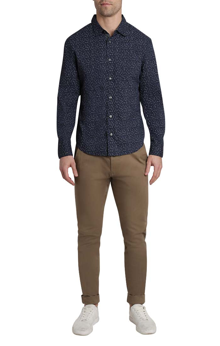 Navy Vine Print Long Sleeve Tech Shirt - JACHS NY