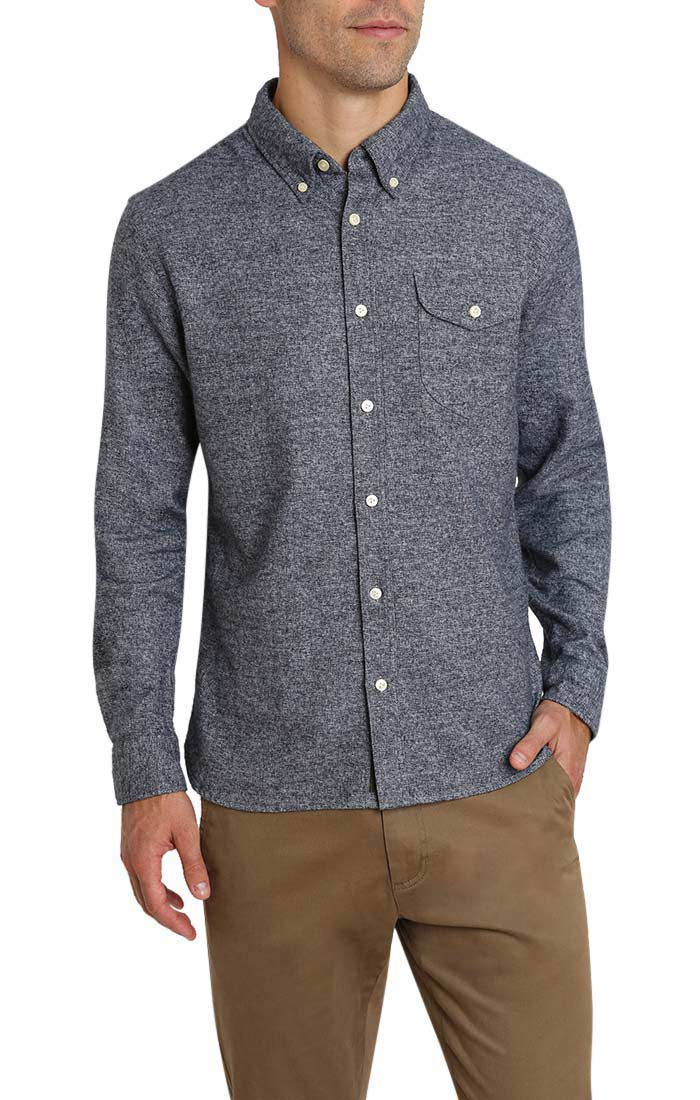 Indigo Jaspe Brushed Flannel Shirt - jachs