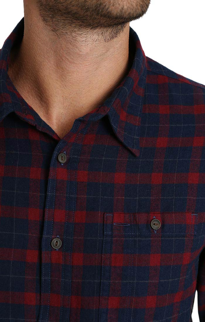 Red Micro Plaid Brushed Flannel Shirt - JACHS NY
