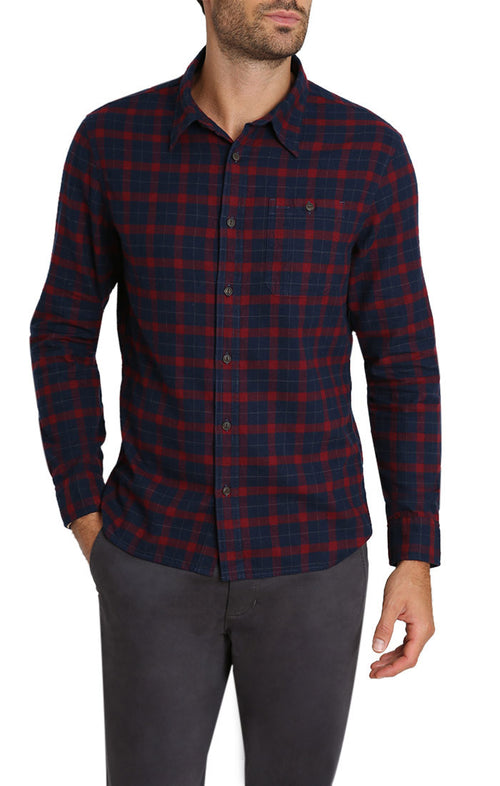 Red Micro Plaid Brushed Flannel Shirt - jachs