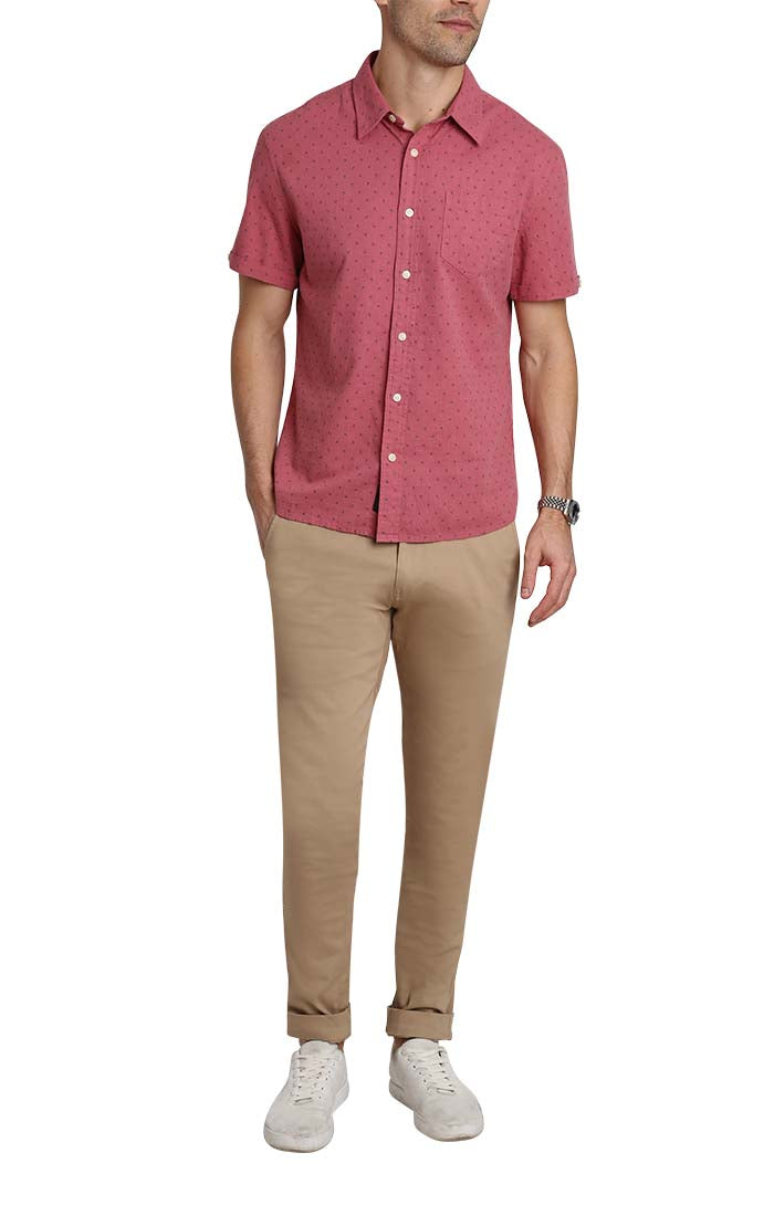Red Floral Stretch Linen Short Sleeve Shirt - jachs