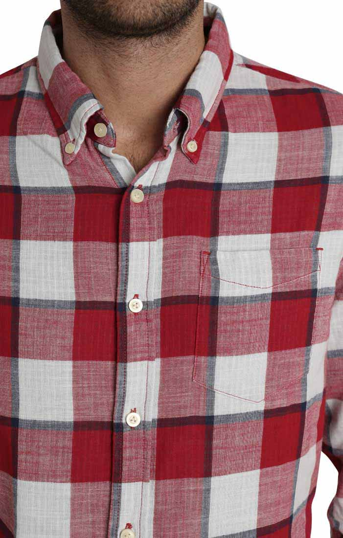 Red Oversize Plaid Stretch Double Face Shirt - jachs