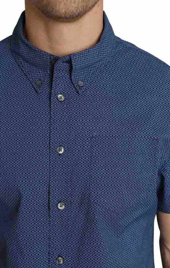 Blue Micro Print Short Sleeve Tech Shirt - jachs