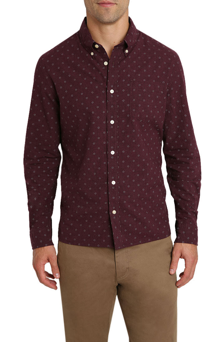 Burgundy Melange Printed Oxford Shirt - jachs