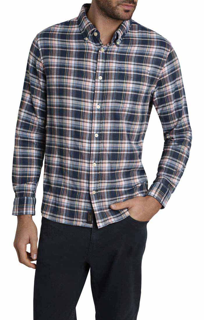 Navy Plaid Stretch Double Face Shirt