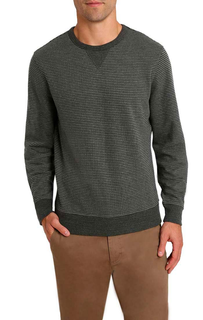 Charcoal Striped Fleece Crewneck Sweatshirt - jachs