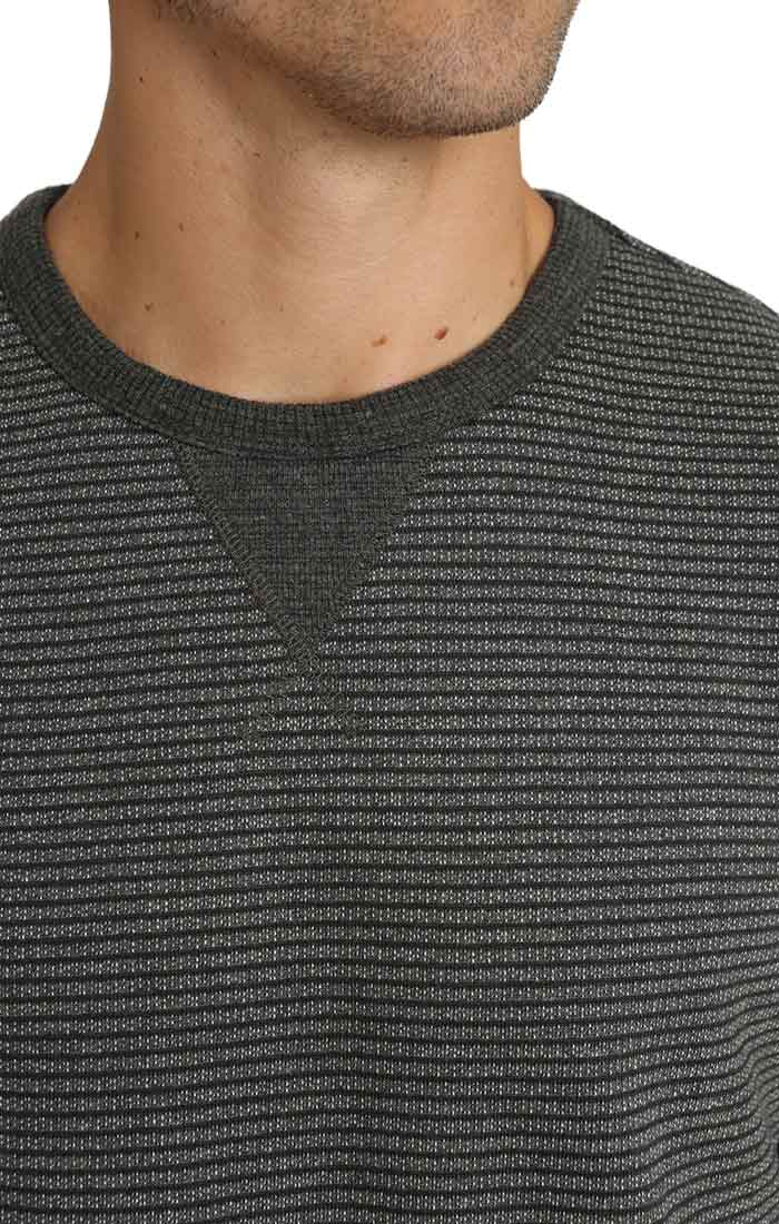 Charcoal Striped Fleece Crewneck Sweatshirt