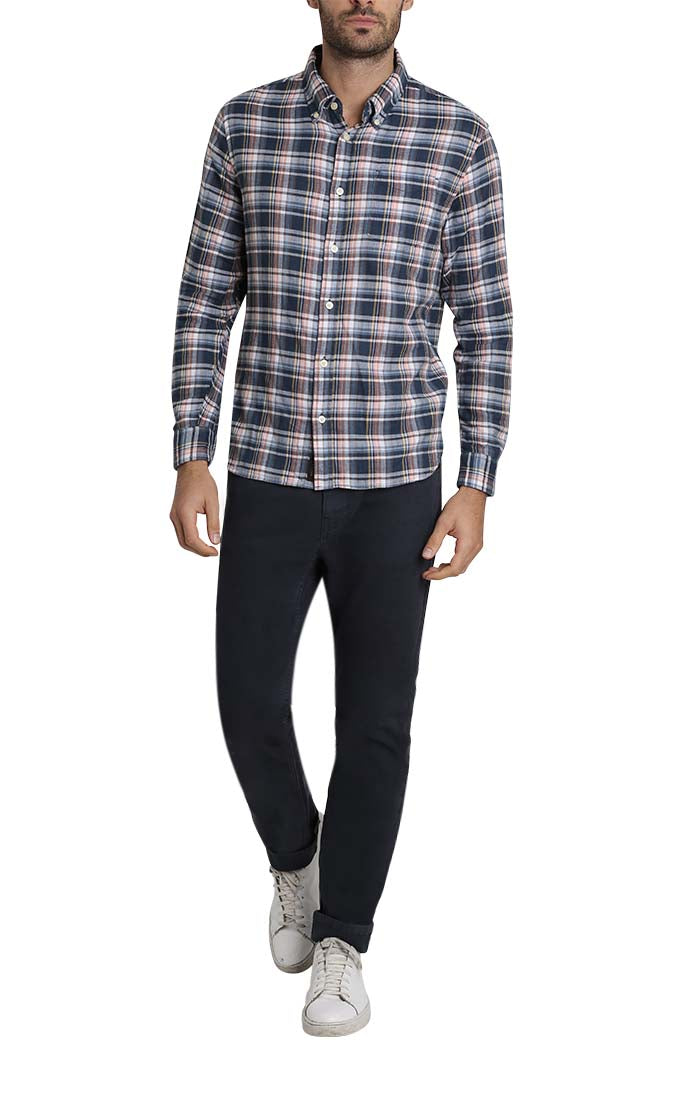 Navy Plaid Stretch Double Face Shirt - JACHS NY