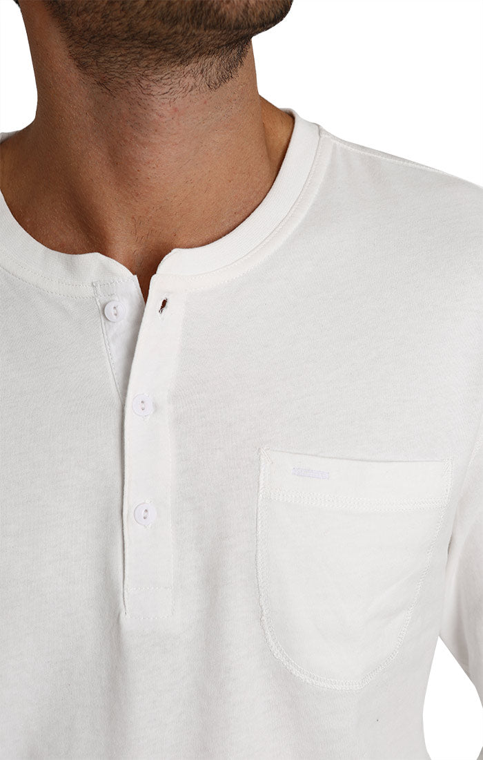White Sueded Cotton Long Sleeve Henley - JACHS NY