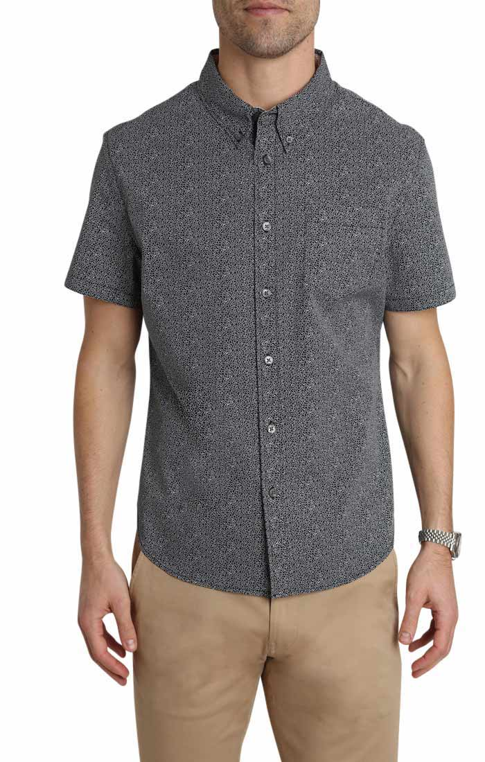 Black Micro Floral Short Sleeve Tech Shirt - JACHS NY