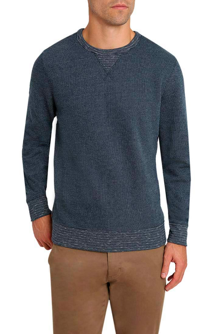 Navy Marled Fleece Crewneck Sweatshirt - JACHS NY