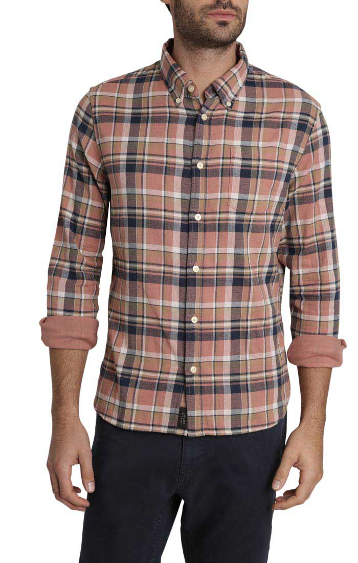 Rust Plaid Stretch Double Face Shirt - JACHS NY