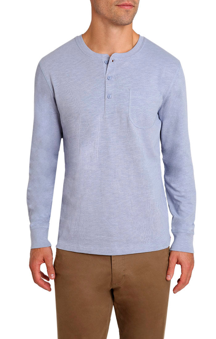 Zen Blue Slub Cotton Long Sleeve Henley - jachs