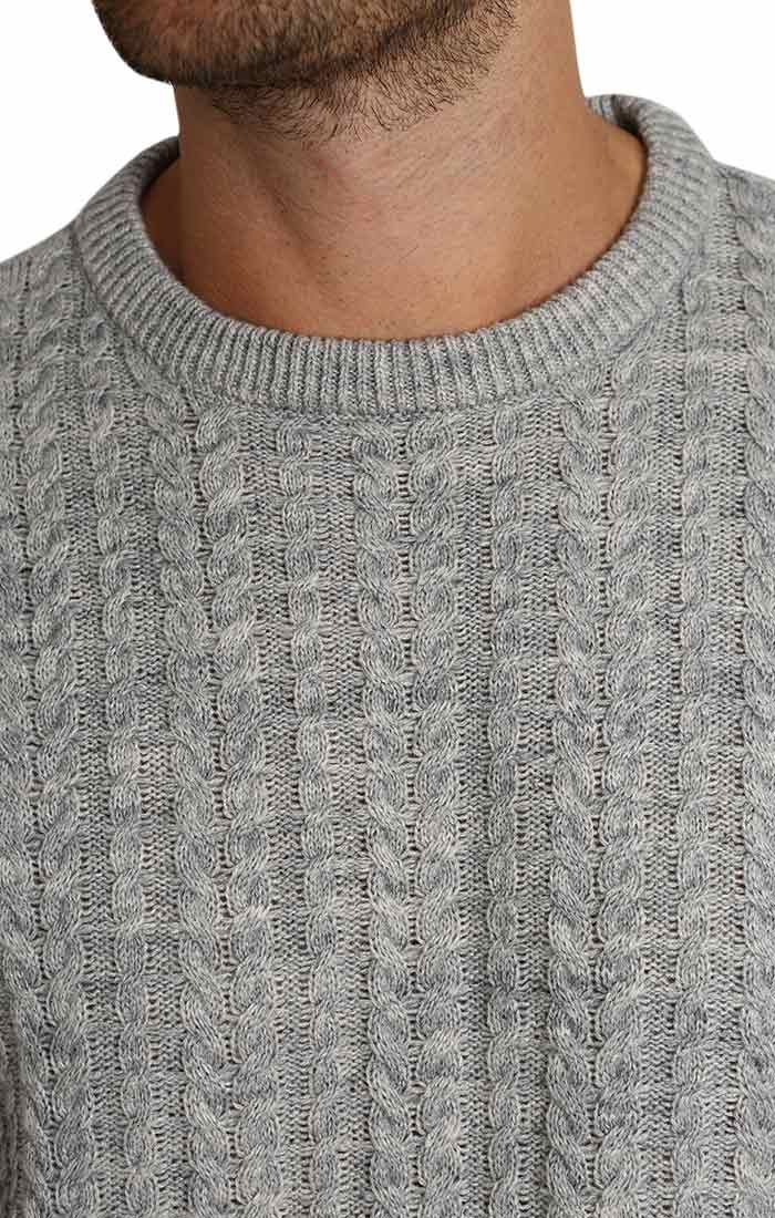 Light Grey Cable Knit Crewneck Sweater - JACHS NY