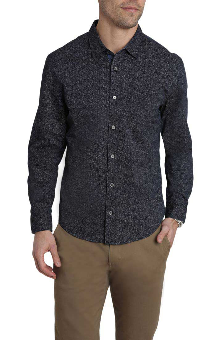Navy Splatter Print Long Sleeve Tech Shirt - jachs