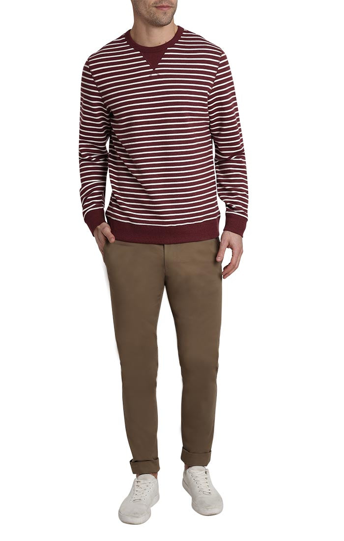 Burgundy Stripe Terry Crewneck
