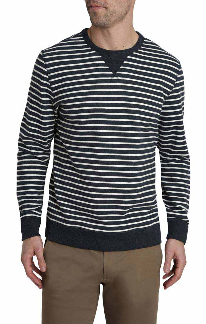 Navy Stripe Terry Crewneck - jachs
