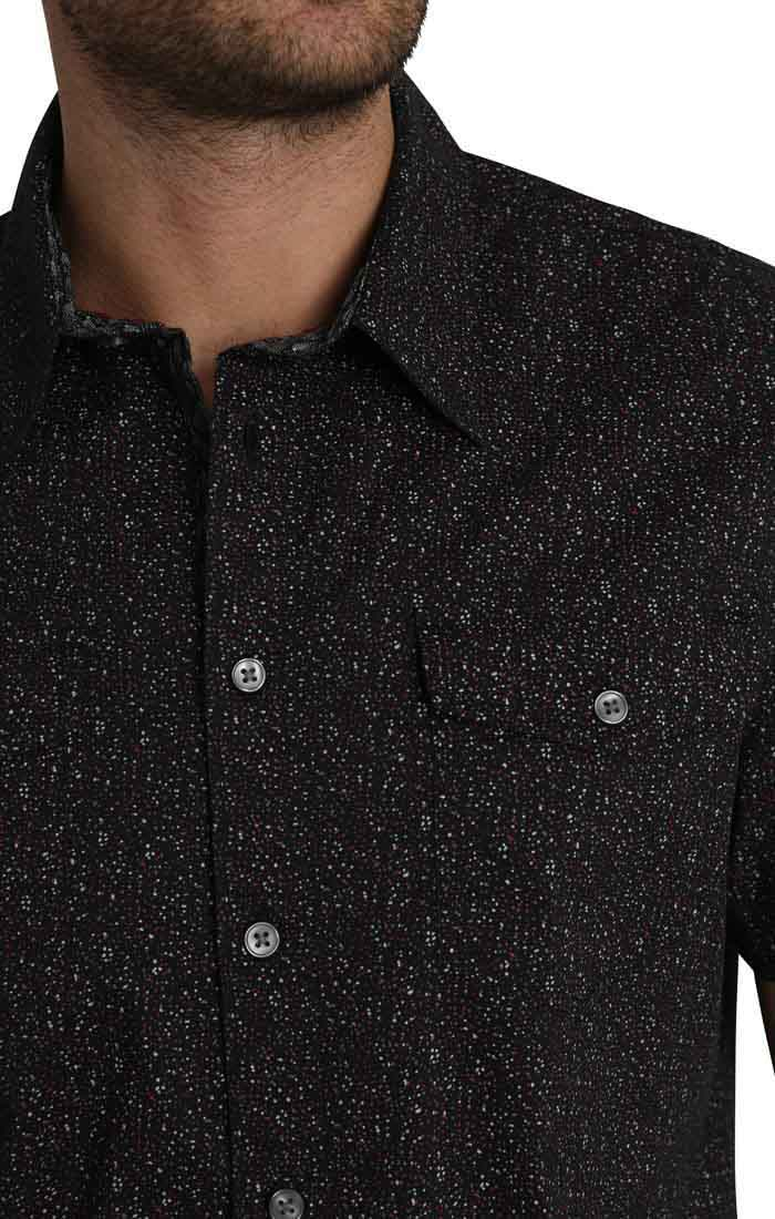 Black Splatter Print Short Sleeve Tech Shirt - jachs