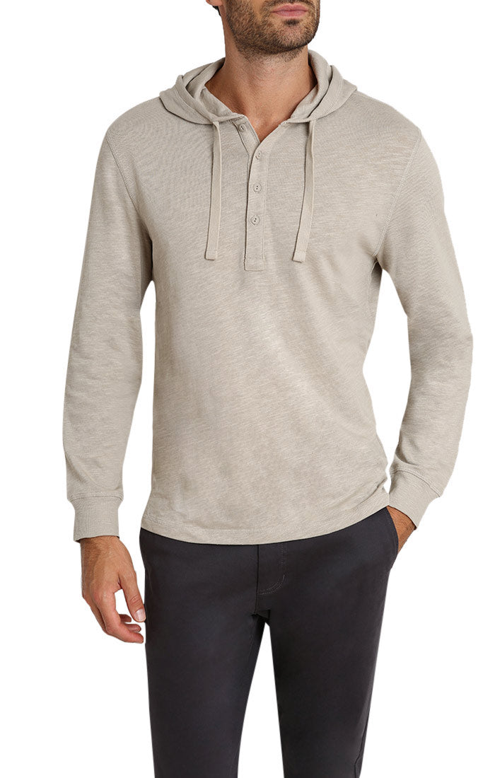 Nimbus Cloud Slub Cotton Hooded Henley - jachs