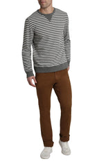 Grey Stripe Terry Crewneck - jachs