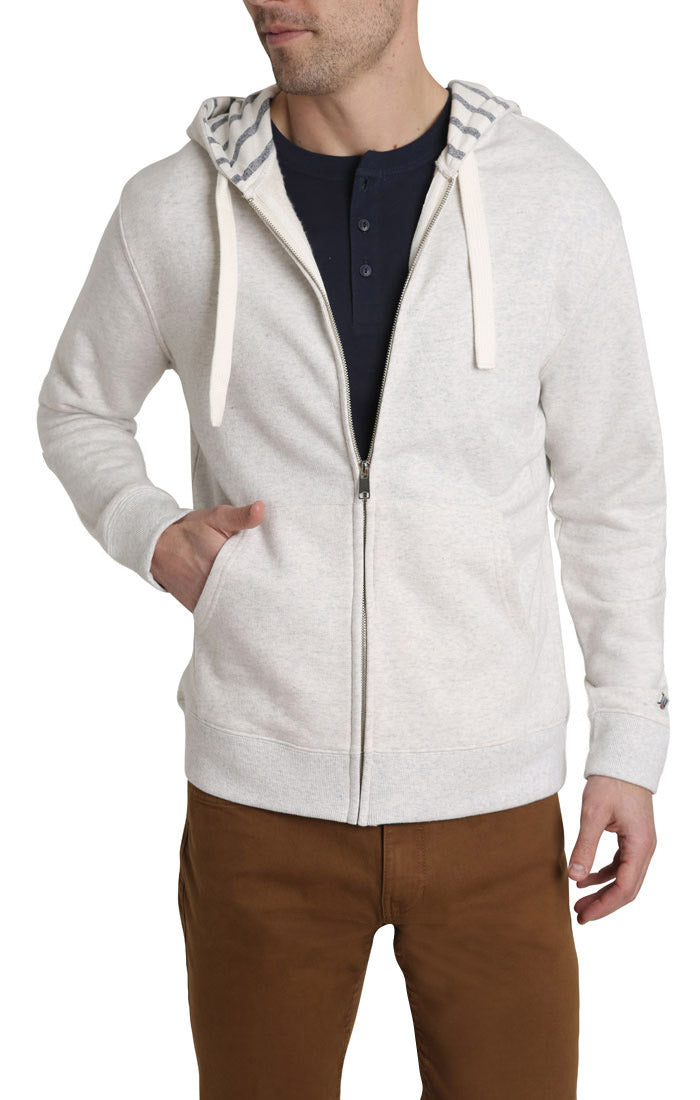 Grey Varsity French Terry Zip Up Hoodie - JACHS NY