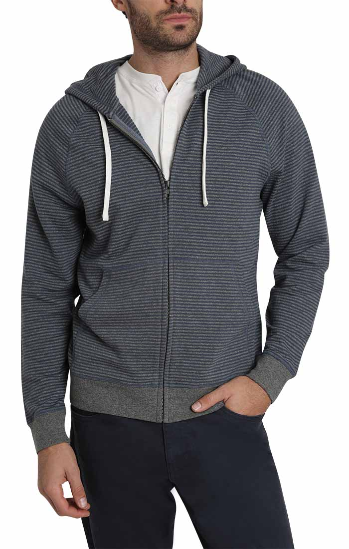 Navy Striped Terry  Zip Up Hoodie - jachs