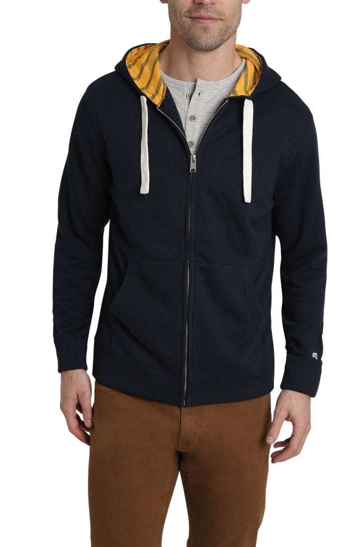 Navy Varsity French Terry Zip Up Hoodie