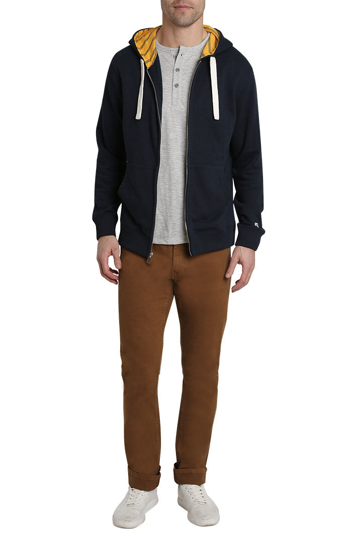 Navy Varsity French Terry Zip Up Hoodie - JACHS NY