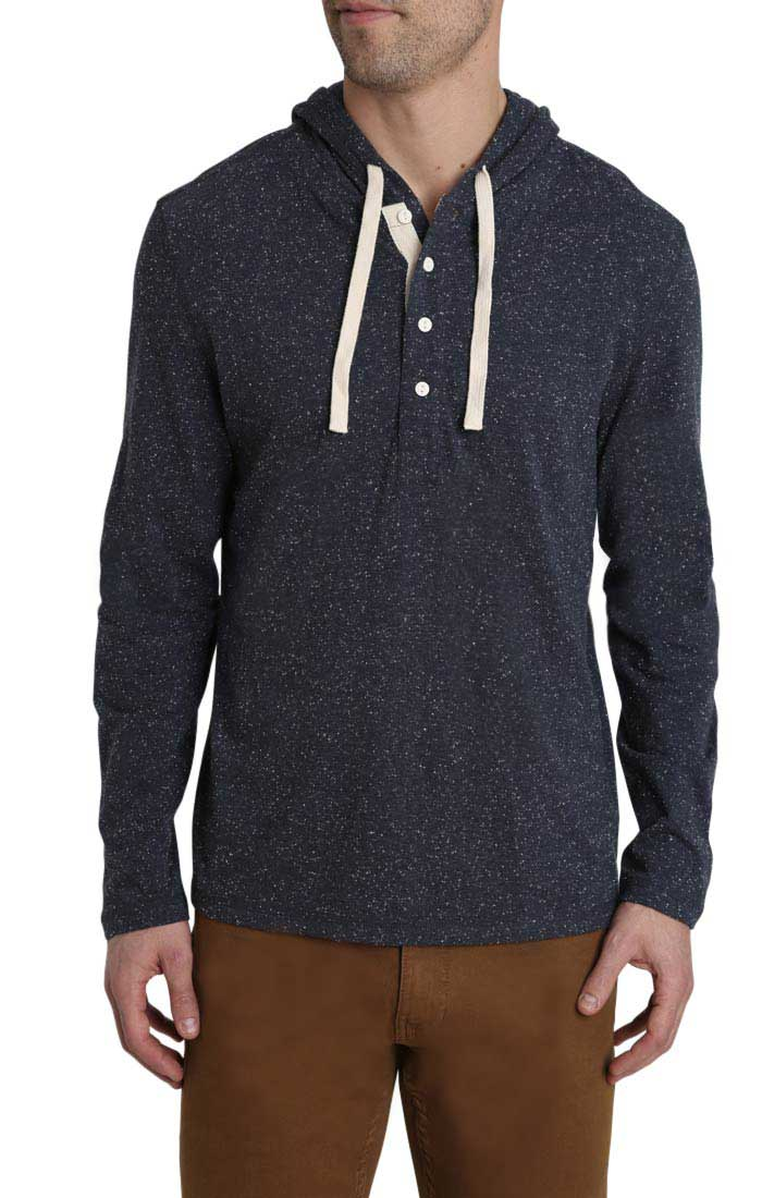 Navy Donegal TriBlend Hooded Henley - jachs