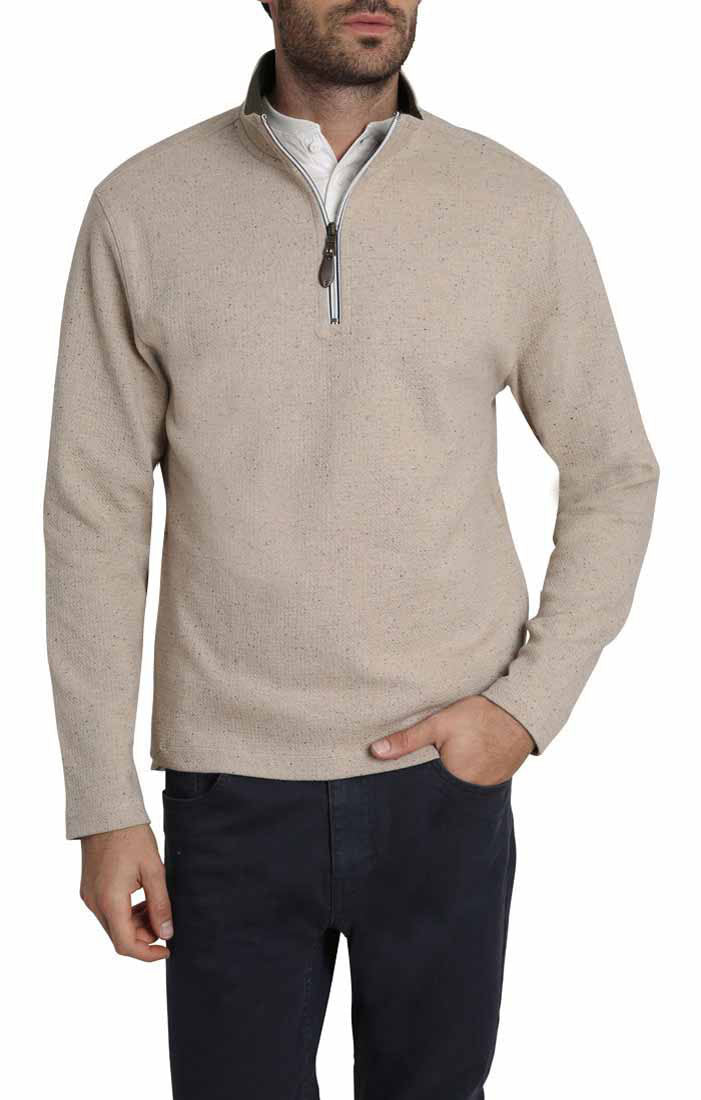 Tan Donegal Stretch Quarter Zip Pullover - jachs